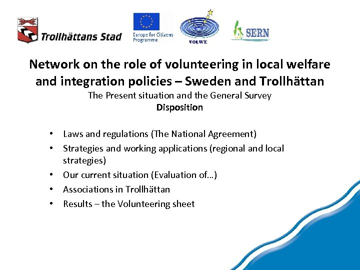 Network on the role of volunteering in local welfare and integration policies – Sweden