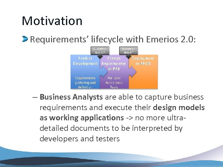 Motivation Requirements' lifecycle with Emerios 2. 0: – Business Analysts are able to capture