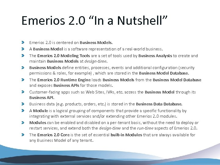 """Emerios 2. 0 """"In a Nutshell"""" Emerios 2. 0 is centered on Business Models."""