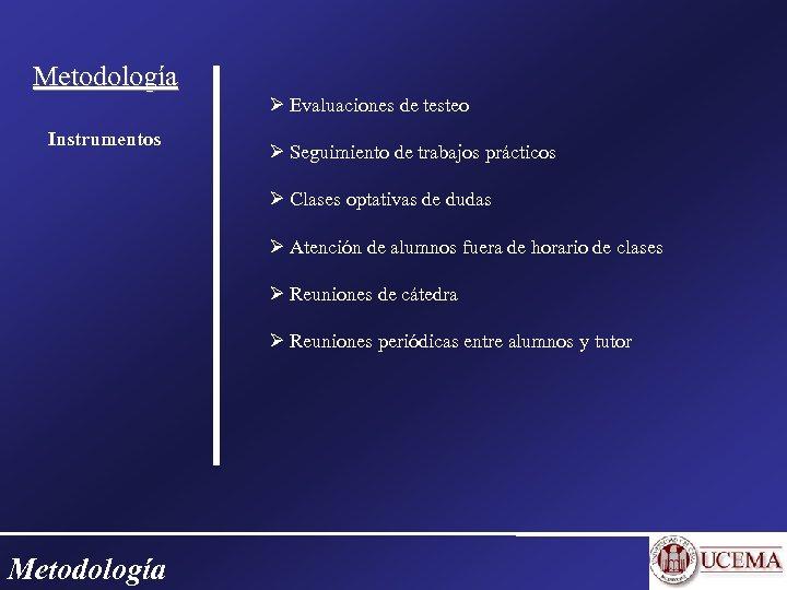 Metodología Evaluaciones de testeo Instrumentos Seguimiento de trabajos prácticos Clases optativas de dudas Atención