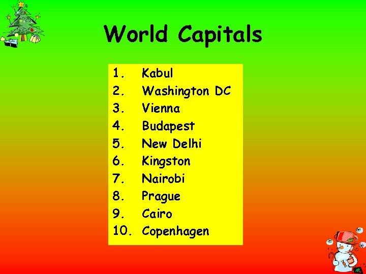 World Capitals 1. 2. 3. 4. 5. 6. 7. 8. 9. 10. Kabul Washington