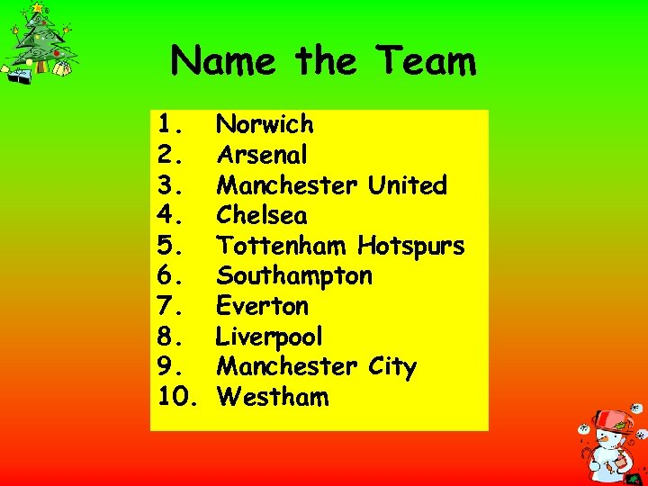 Name the Team 1. 2. 3. 4. 5. 6. 7. 8. 9. 10. Norwich
