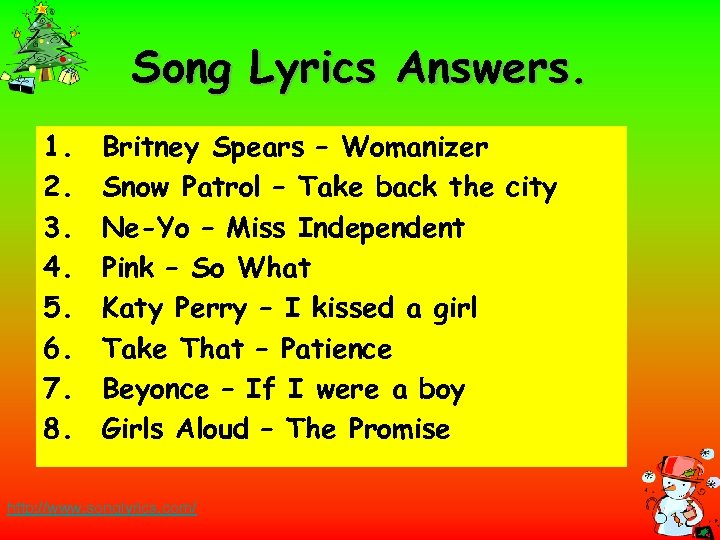 Song Lyrics Answers. 1. 2. 3. 4. 5. 6. 7. 8. Britney Spears –