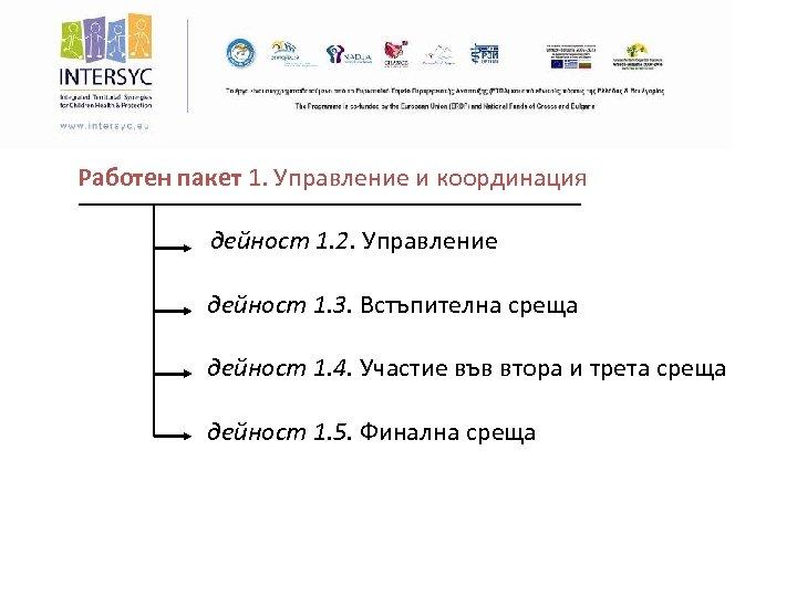 Работен пакет 1. Управление и координация дейност 1. 2. Управление дейност 1. 3. Встъпителна
