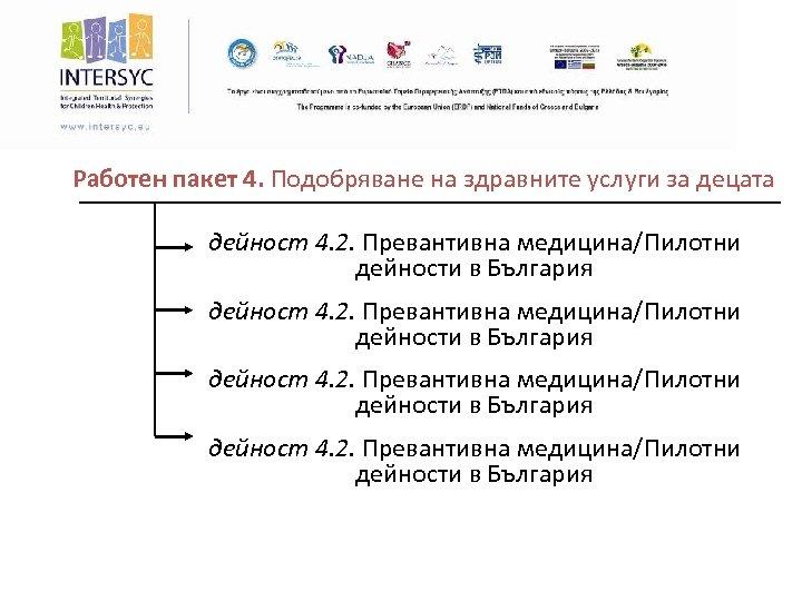 Работен пакет 4. Подобряване на здравните услуги за децата дейност 4. 2. Превантивна медицина/Пилотни
