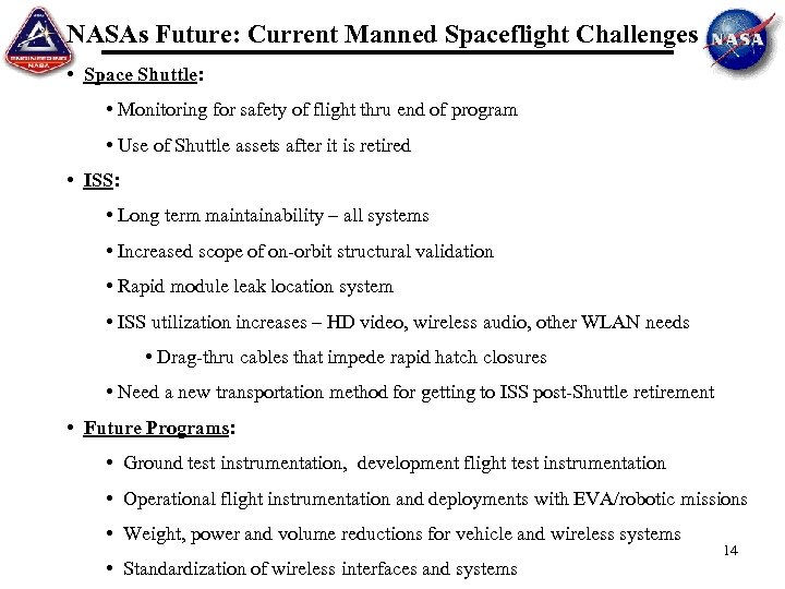 NASAs Future: Current Manned Spaceflight Challenges • Space Shuttle: • Monitoring for safety of
