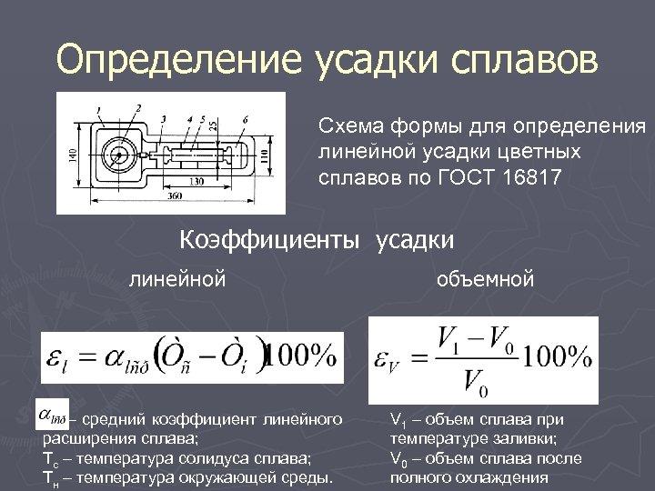 Определение усадки сплавов Схема формы для определения линейной усадки цветных сплавов по ГОСТ 16817