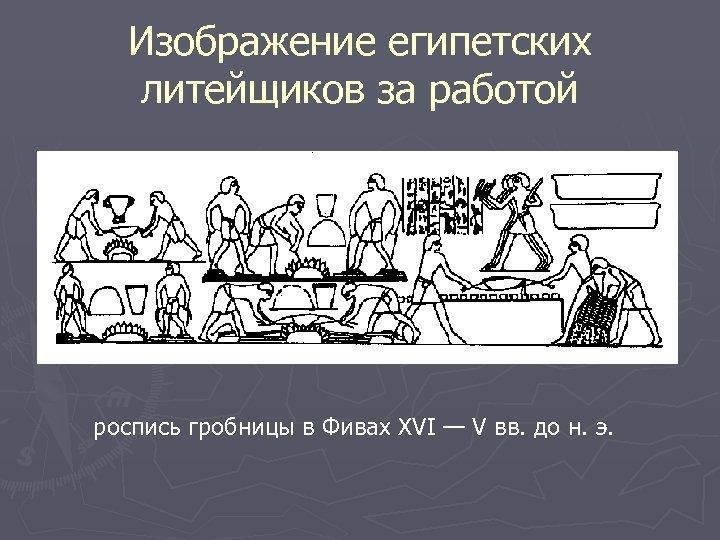 Изображение египетских литейщиков за работой роспись гробницы в Фивах XVI — V вв. до