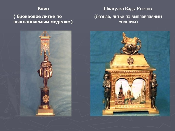 Воин Шкатулка Виды Москвы ( бронзовое литье по выплавляемым моделям) (бронза, литье по выплавляемым