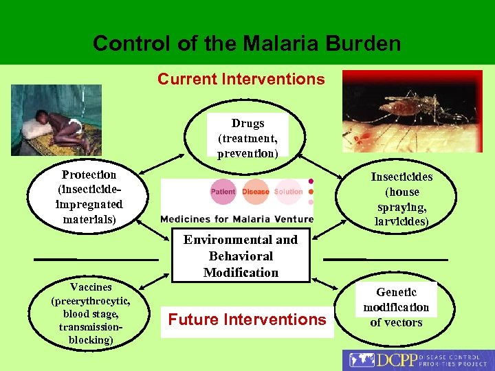 Control of the Malaria Burden Current Interventions Drugs (treatment, prevention) Protection (insecticideimpregnated materials) Insecticides