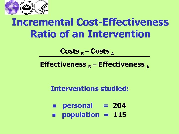 Incremental Cost-Effectiveness Ratio of an Intervention Costs B – Costs A Effectiveness B –