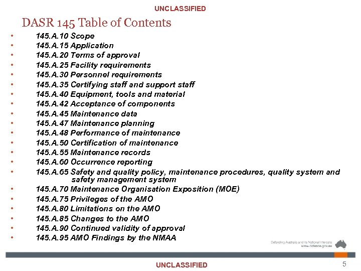 UNCLASSIFIED DASR 145 Table of Contents • • • • • • 145. A.