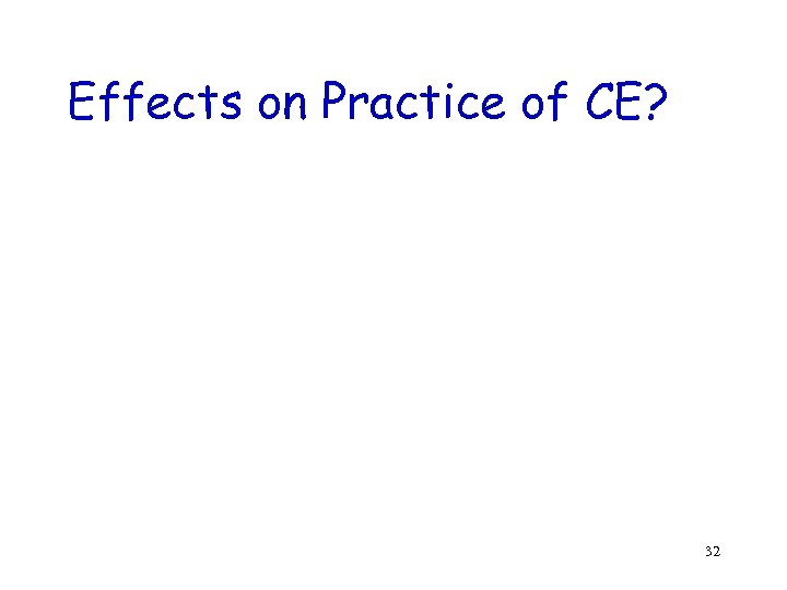 Effects on Practice of CE? 32