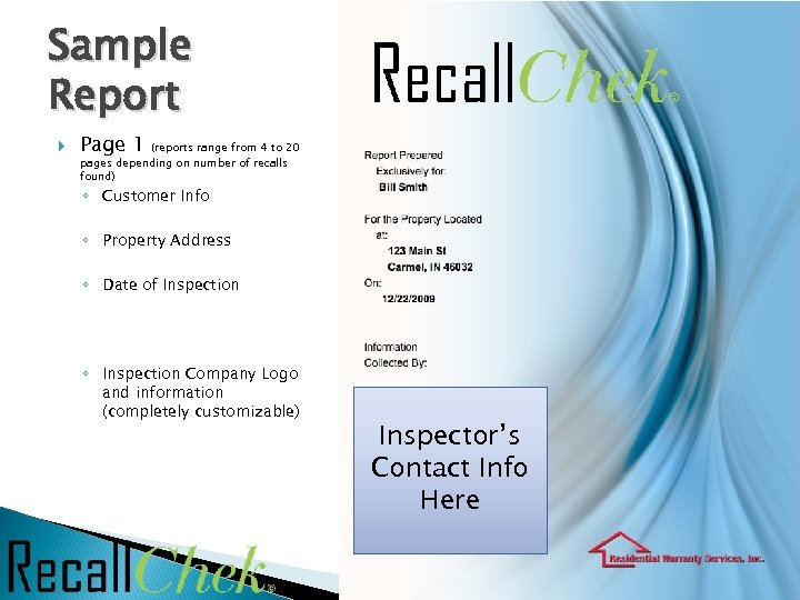 Sample Report Page 1 (reports range from 4 to 20 pages depending on number