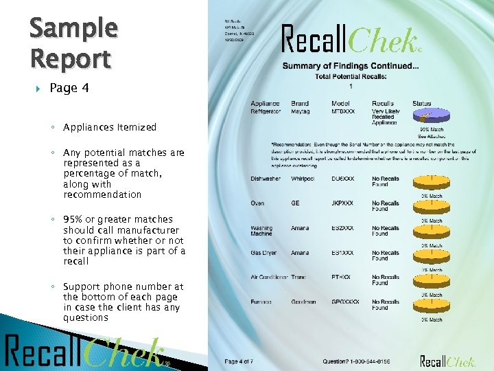 Sample Report Page 4 ◦ Appliances Itemized ◦ Any potential matches are represented as