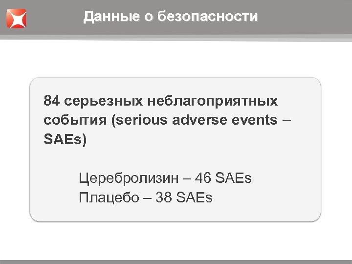 Данные о безопасности 84 серьезных неблагоприятных события (serious adverse events – SAEs) Церебролизин –