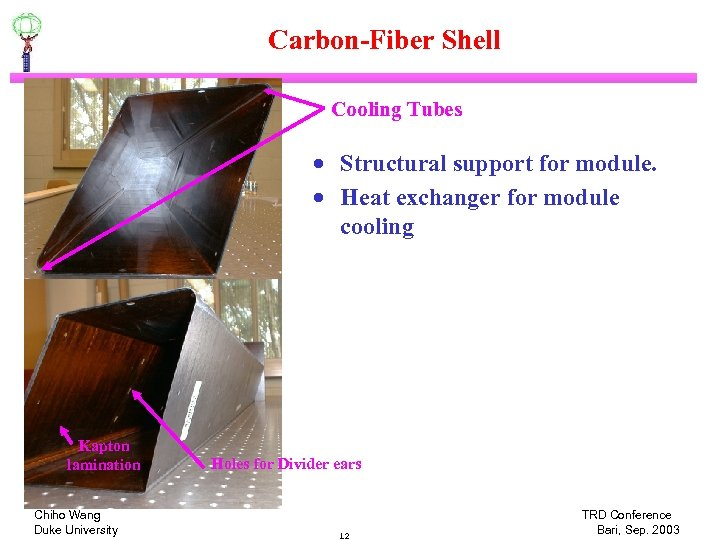Carbon-Fiber Shell Cooling Tubes · Structural support for module. · Heat exchanger for module