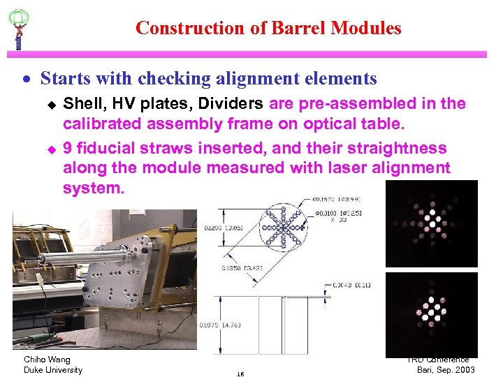 Construction of Barrel Modules · Starts with checking alignment elements u u Shell, HV