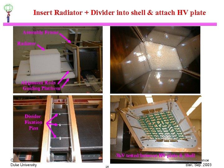 Insert Radiator + Divider into shell & attach HV plate Assembly Frame Radiator Alignment