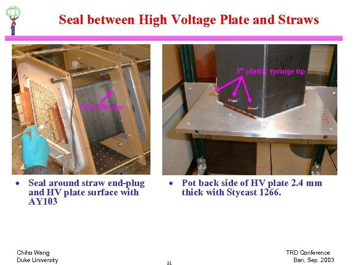 "Seal between High Voltage Plate and Straws 3"" plastic syringe tip Glue Divider ·"