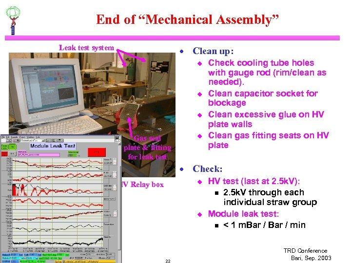 """End of """"Mechanical Assembly"""" Leak test system · Clean up: u u u HV"""