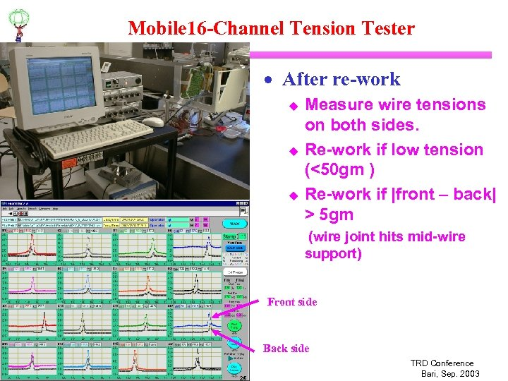 Mobile 16 -Channel Tension Tester · After re-work u u u Measure wire tensions