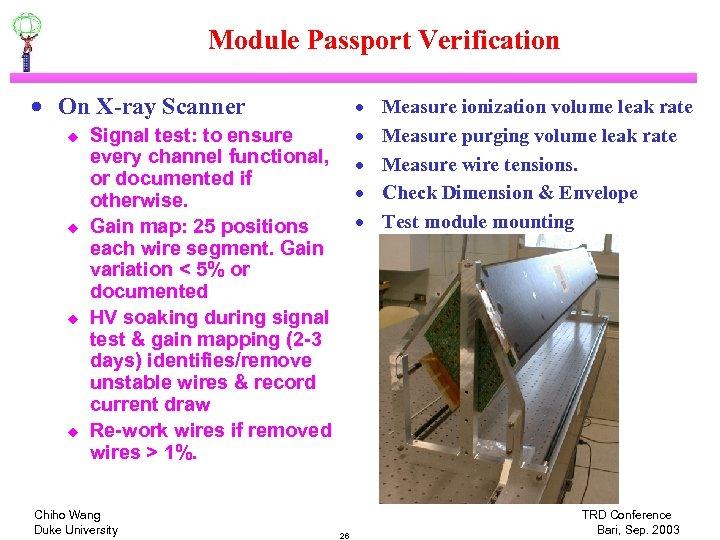 Module Passport Verification · On X-ray Scanner u u · · · Signal test: