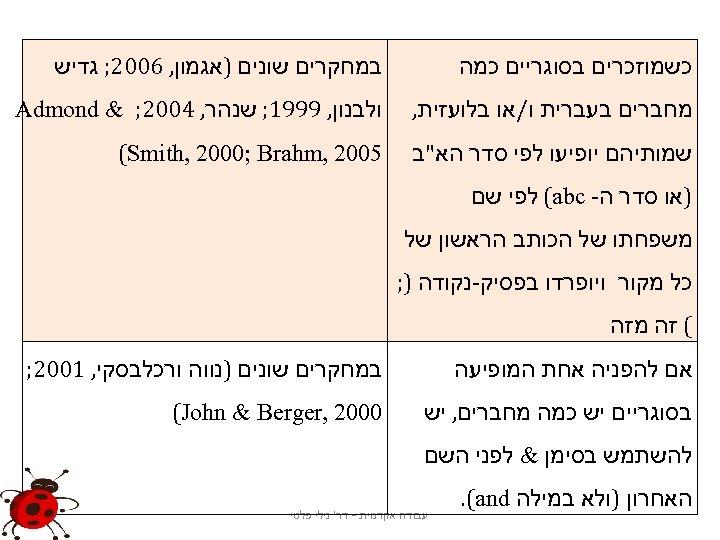 כשמוזכרים בסוגריים כמה במחקרים שונים )אגמון, 6002; גדיש מחברים בעברית ו/או בלועזית, ולבנון,