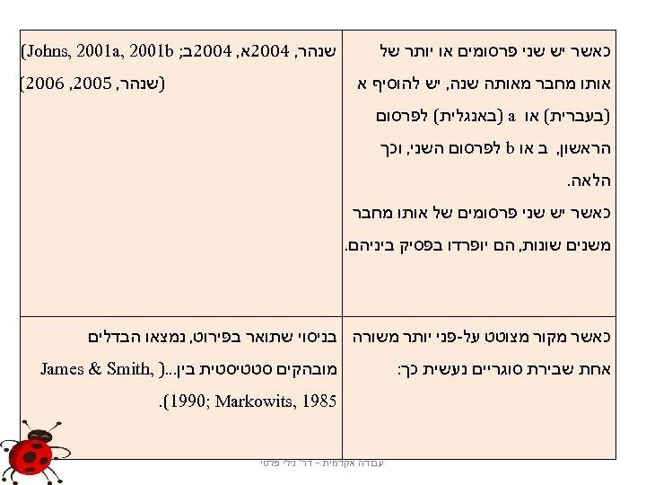 כאשר יש שני פרסומים או יותר של שנהר, 4002א, 4002ב; (Johns, 2001 a,