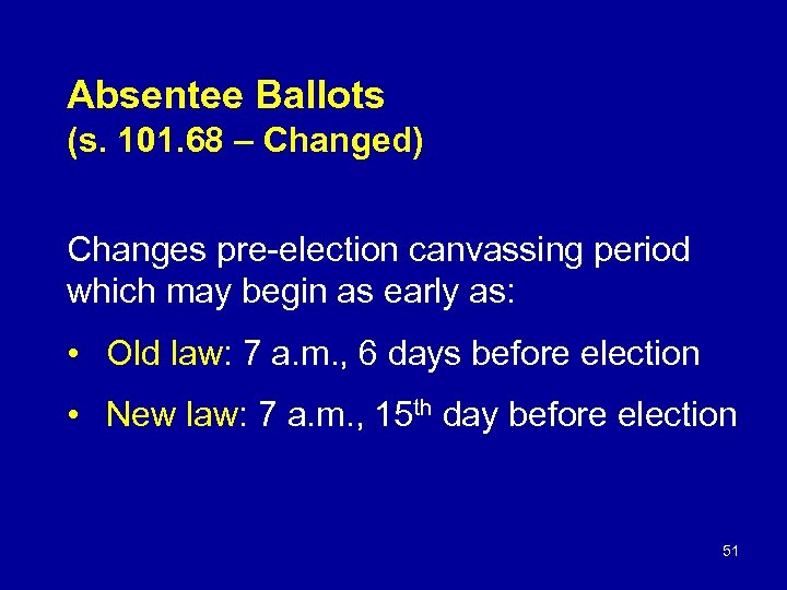 Absentee Ballots (s. 101. 68 – Changed) Changes pre-election canvassing period which may begin