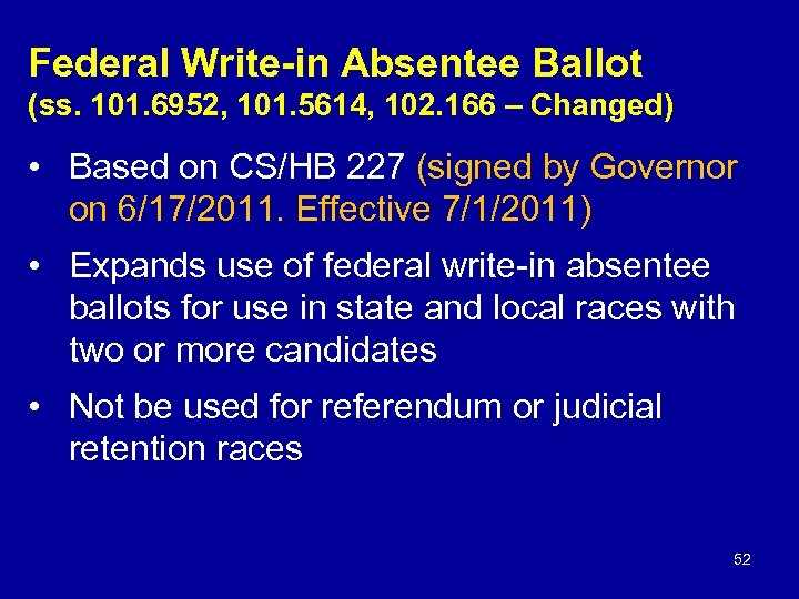 Federal Write-in Absentee Ballot (ss. 101. 6952, 101. 5614, 102. 166 – Changed) •