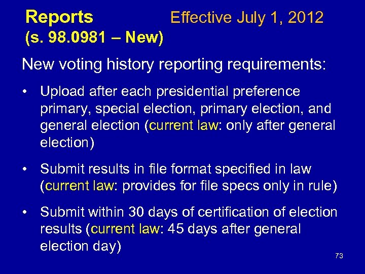 Reports Effective July 1, 2012 (s. 98. 0981 – New) New voting history reporting