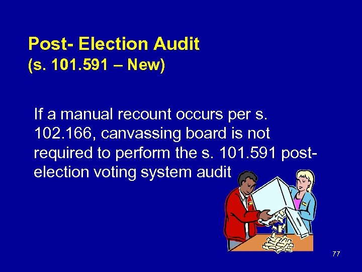 Post- Election Audit (s. 101. 591 – New) If a manual recount occurs per