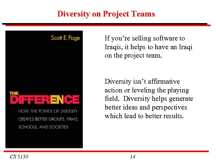 Diversity on Project Teams If you're selling software to Iraqis, it helps to have