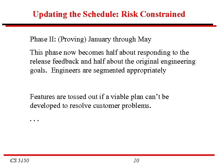 Updating the Schedule: Risk Constrained Phase II: (Proving) January through May This phase now
