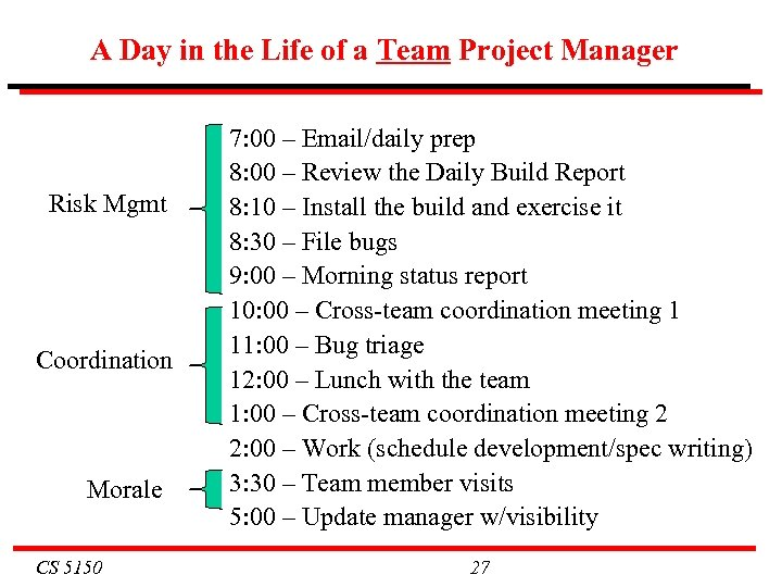 A Day in the Life of a Team Project Manager Risk Mgmt Coordination Morale