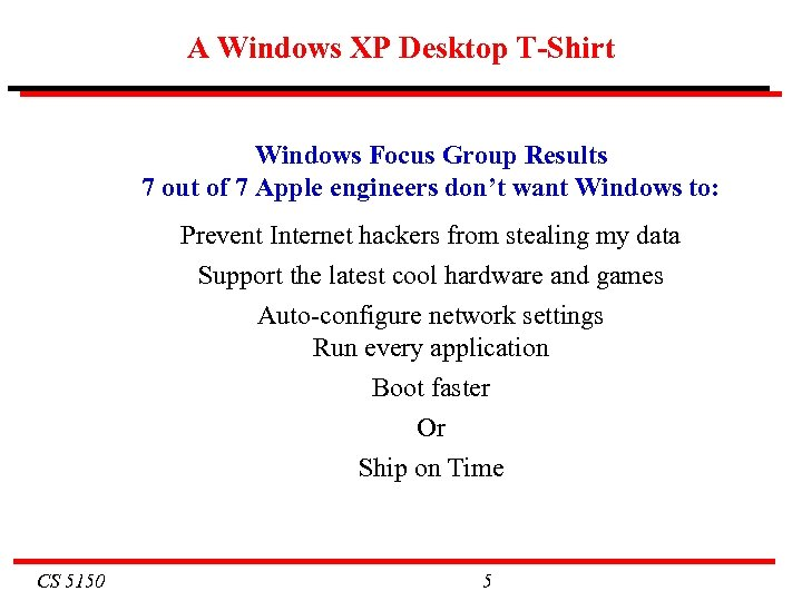 A Windows XP Desktop T-Shirt Windows Focus Group Results 7 out of 7 Apple