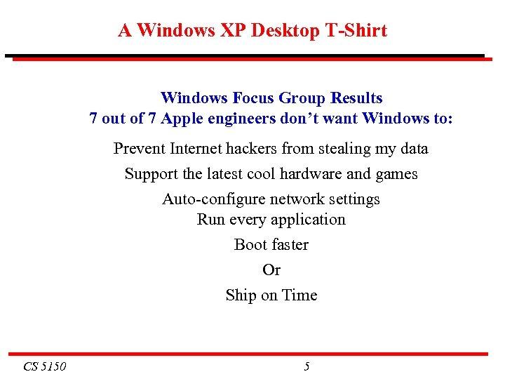 A Windows XP Desktop T-Shirt Windows Focus Group Results 7 out of 7 Apple
