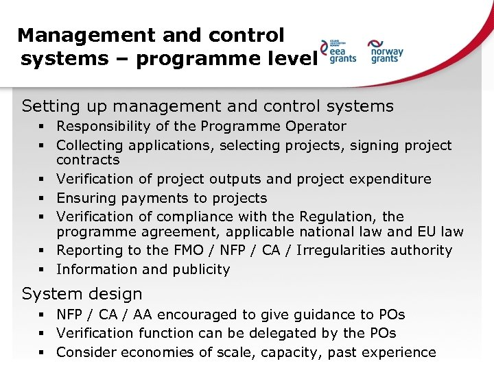 Management and control systems – programme level Setting up management and control systems §
