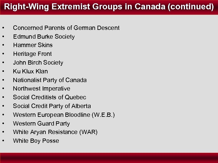 Right-Wing Extremist Groups in Canada (continued) • • • • Concerned Parents of German