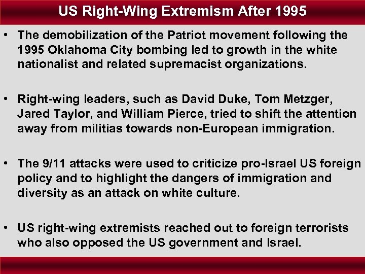 US Right-Wing Extremism After 1995 • The demobilization of the Patriot movement following the