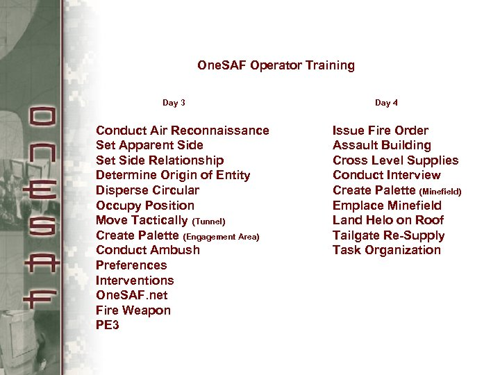 One. SAF Operator Training Day 3 Conduct Air Reconnaissance Set Apparent Side Set Side