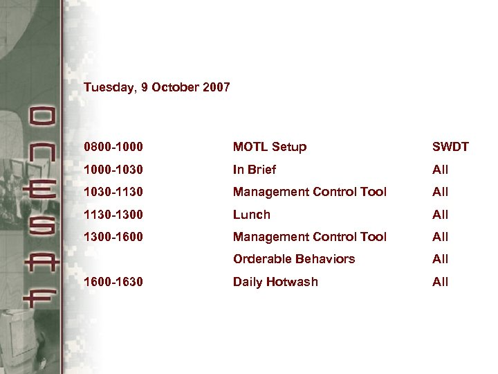 Tuesday, 9 October 2007 0800 -1000 MOTL Setup SWDT 1000 -1030 In Brief All