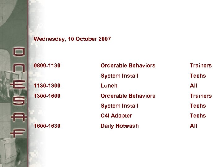 Wednesday, 10 October 2007 0800 -1130 Orderable Behaviors Trainers System Install Techs 1130 -1300