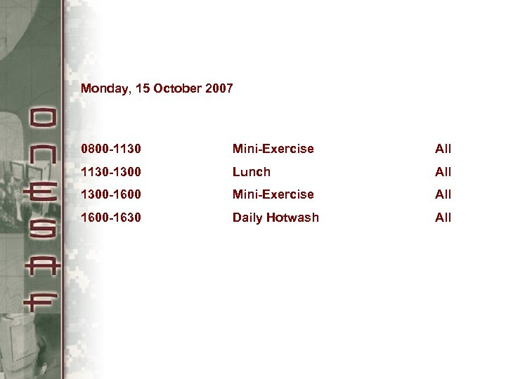 Monday, 15 October 2007 0800 -1130 Mini-Exercise All 1130 -1300 Lunch All 1300 -1600