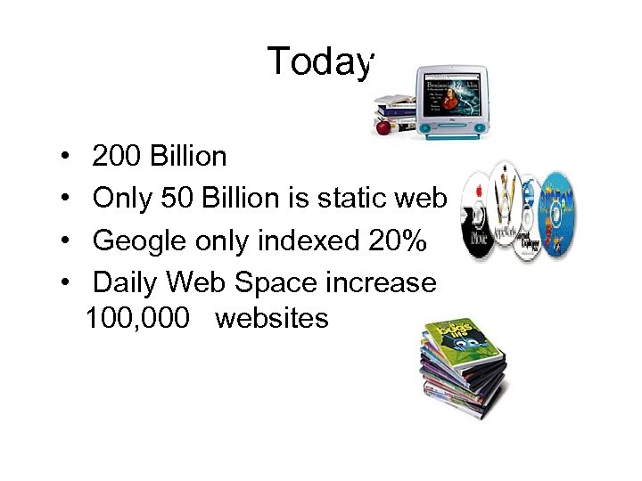 Today • • 200 Billion Only 50 Billion is static web Geogle only indexed