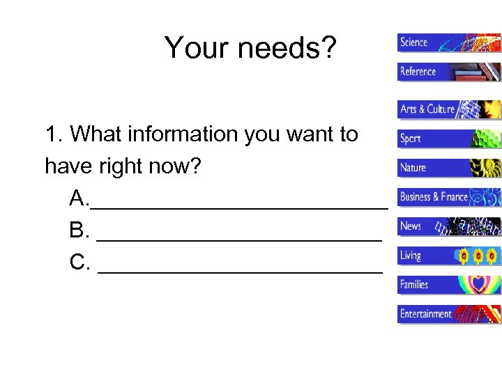 Your needs? 1. What information you want to have right now? A. ____________ B.