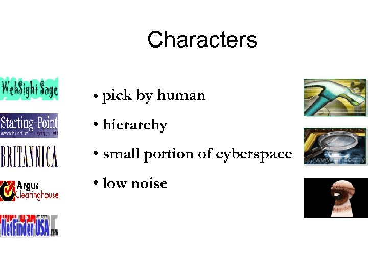 Characters • • pick by human • hierarchy • small portion of cyberspace •