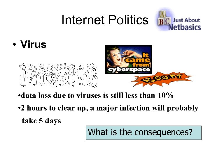 Internet Politics • Virus • data loss due to viruses is still less than