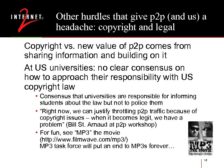 Other hurdles that give p 2 p (and us) a headache: copyright and legal
